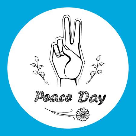 2017 年 9 月 21 日の国際平和の日ロゴのベクトルします。2 本の指が戦争やサークルでの暴力からの自由を意味非言語的サインを手します。