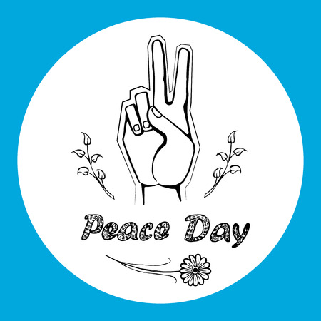 International peace day logo on 21 September 2017 vector. Hand nonverbal sign with two fingers meaning freedom from war or violence in circle