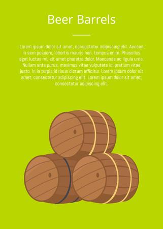 Los barriles de madera de la cerveza vector el ejemplo en verde con el texto. Tres toneles o contenedores cilíndricos huecos, símbolo del Oktoberfest o festival de Octoberfest Foto de archivo - 90242140