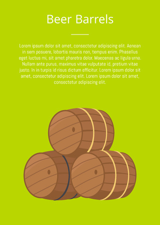 Beer wooden barrels vector illustration on green with text. Three casks or tuns hollow cylindrical containers, symbol of Oktoberfest or Octoberfest festival Illustration