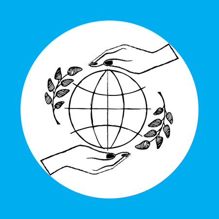 International peace day poster with two hands protecting globe.