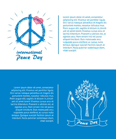 International peace day logo with hippie sign, red heart on top of symbol and hand holding tree taking care about plant vector illustration with text Reklamní fotografie - 90243662