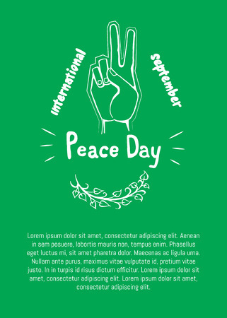 International peace day poster on 21 September 2017 vector. Hand nonverbal sign with two fingers meaning freedom poster with text on green background