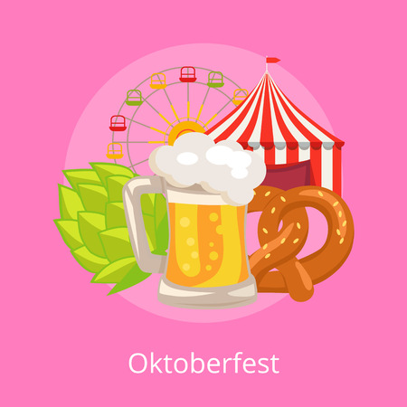 Oktoberfest illustration on pink demonstrating glass of beer.