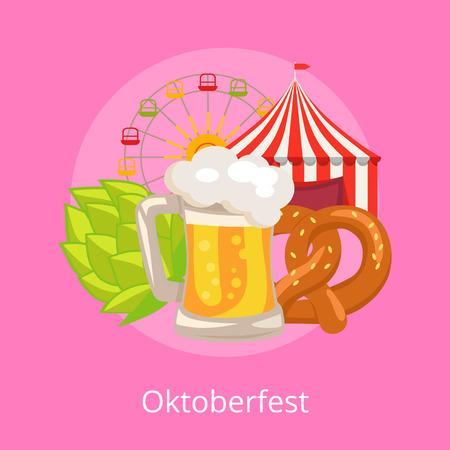 Oktoberfest illustration on pink demonstrating glass of beer.