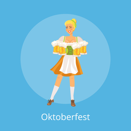 Oktoberfest poster with German waitress wearing traditional costume holding glasses.