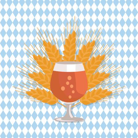 ビール イラストのスニフター グラス。
