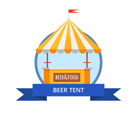 Beer tent of orange and white colors at octoberfest selling drinks, food represented on white and bluish background on vector illustration.