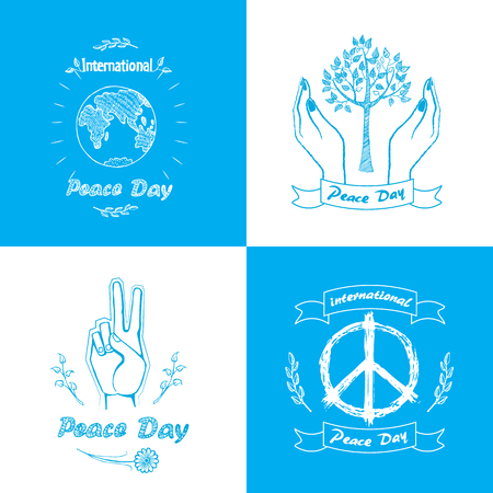 Posters for International Peace Day. Vector illustration includes different love and harmony symbols as trees, doves and planet, twigs and fingers