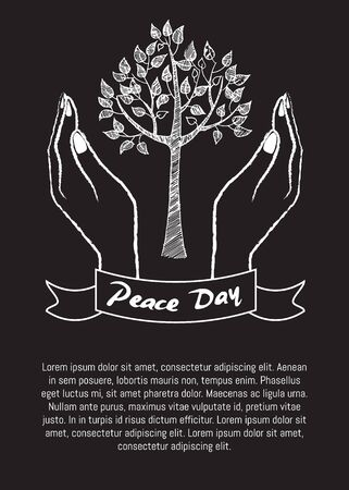 International peace day poster on 21 September 2017 vector. Hand nonverbal sign with two fingers meaning freedom poster with text on black Ilustração