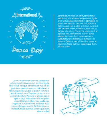 International peace day september 21, set of posters with hands holding globe with olive branch and planet sign vector illustration with text