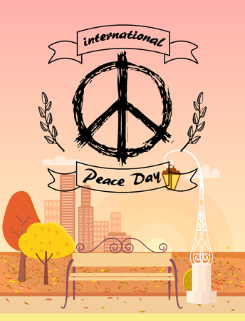 International Peace Day logo. Vector illustration with hippie symbol surrounded by spikelets on foreground of autumn city with golden yellow trees Illustration