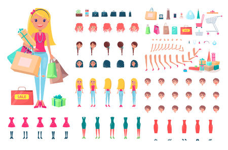 Cheerful blonde woman on shopping spree isolated illustration.