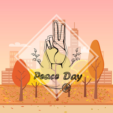 Peace day, image depicting symbolic gesture and olive branch in frame, vector illustration isolated on orange background with trees and buildings