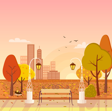 Autumn park with trees and lanterns, bench and birds, as well as cityscape with skyscrapers on vector illustration, fall background Illusztráció