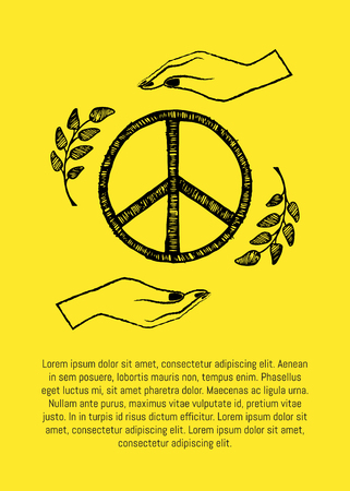 International peace day poster with two hands protecting sign of freedom vector illustration isolated on yellow with olive branches with text Illustration