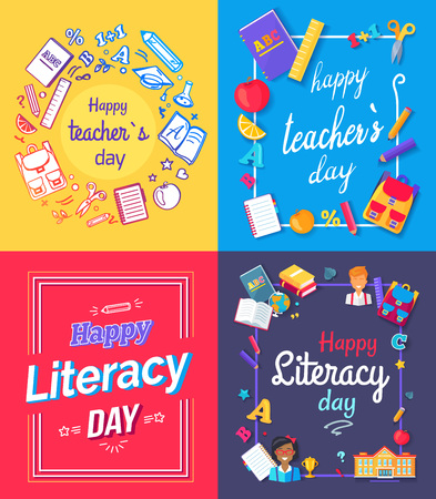 Set of posters dedicated to teachers day and literacy celebration with images of books, pens and pencils, rules and bags vector illustration