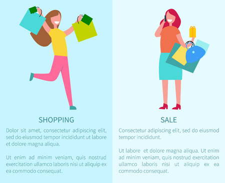 Shopping and sale set of two posters representing excited woman and girl talking on phone with bags.