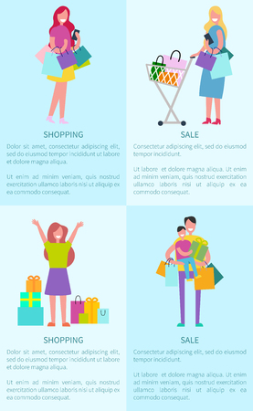 Shopping and sale pictures of images of women with bags and gifts. Иллюстрация