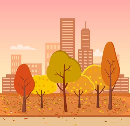 Autumn park and city.