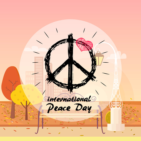 International peace day with hippie sign and red heart on top of symbol vector illustration on autumn city park background Illustration