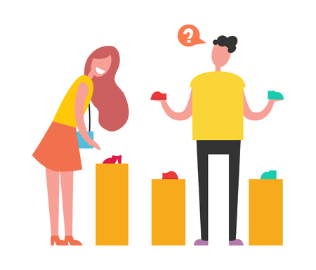 Shopping People Choosing on Vector Illustration