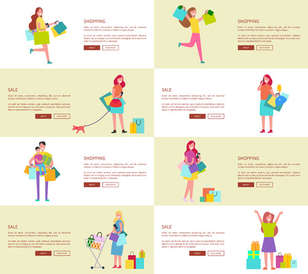 Eight web-pages dedicated to shopping women and family consisting of father and son, there is text, headline and buttons vector illustration Çizim