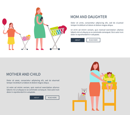 Mom and Daughter and Child Vector Illustration