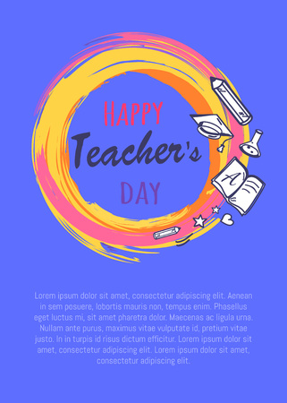 Happy teachers day promo poster depicting orange circle with icons of books, pen and pencil, vector illustration isolated on purple Illustration