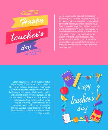 幸せな教師の日、美しく示すバナー装飾タイトルと本、アップルとオレンジ、ペン、鉛筆、本文ベクトル図のアイコン