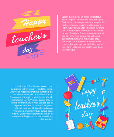 Happy teachers day, banner demonstrating beautifully decorated titles and icons of book, apple and orange, pen and pencil, text vector illustration