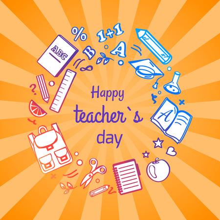 オレンジ色の幾何学的な放射状のストライプ パターンの背景を持つ幸せな教師 s の日ポスターサークルを形成、学校のさまざまなオブジェクトのベ