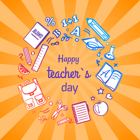 Happy Teacher s Day poster with orange geometric radial stripe pattern background. Vector illustration of various school objects forming circle.