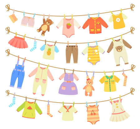 Baby Clothes Hanging on Rope Isolated Illustration 版權商用圖片