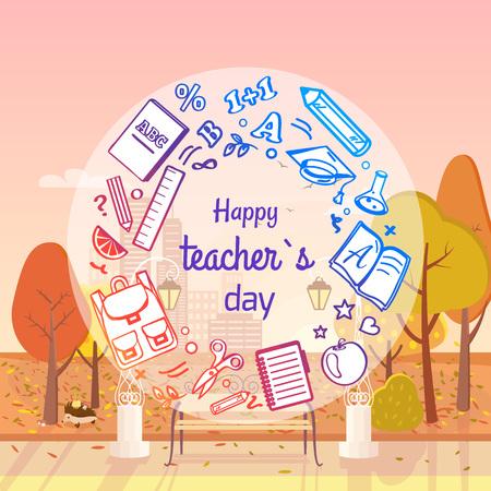 Happy Teachers Day Autumn Vector Illustration
