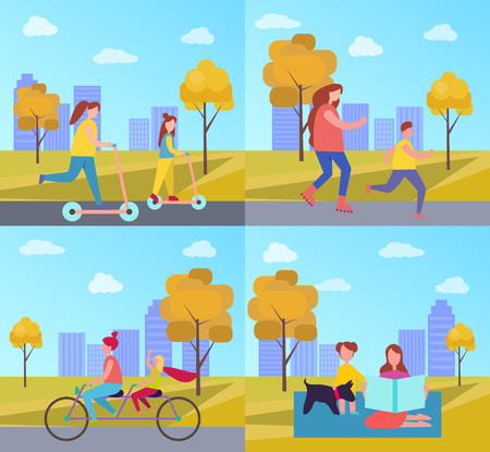 Family Activities in Park Vector Illustration Illustration