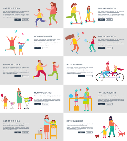 Mom and Children Web Page Vector Illustration