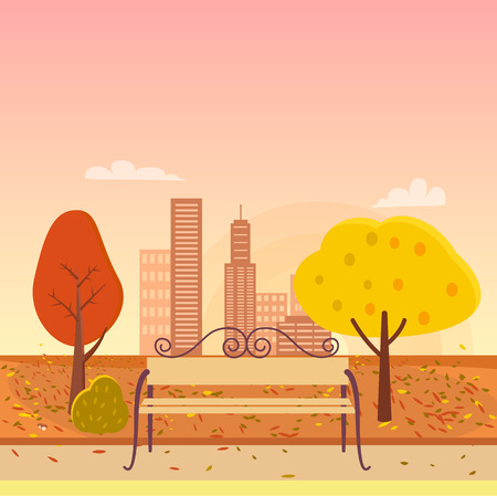Autumn Park and Bench Vector Illustration