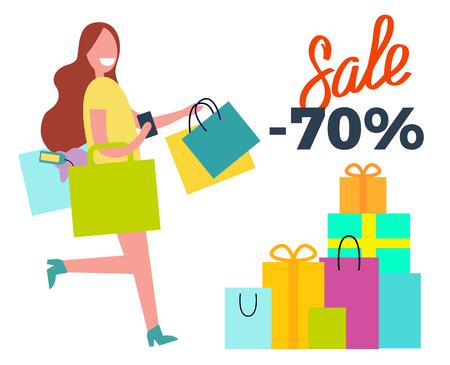 Sale -70 Running Woman on Vector Illustration Illustration
