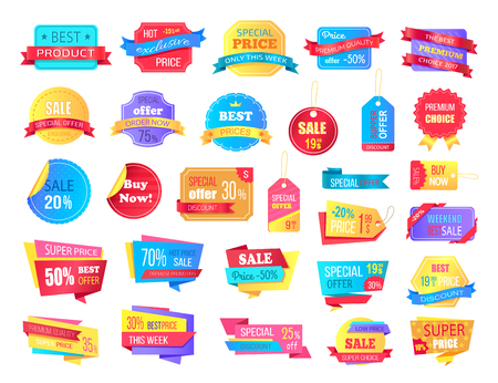 Collection of Sale Labels and Banners on White Illustration