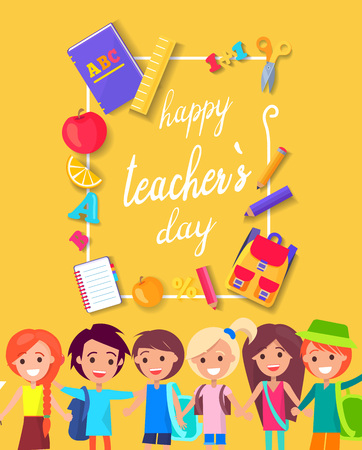Happy Teacher s Day Colorful Bright Poster
