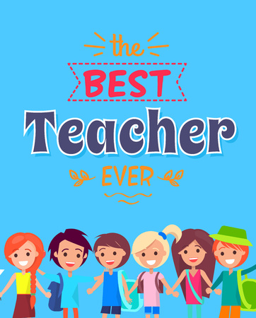 Best Teacher Ever Poster Vector Illustration