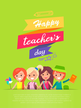 Happy Teachers Day and Ribbons Vector Illustration