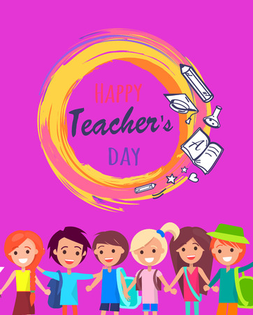 Happy Teacher s Day Wish on Colorful Postcard