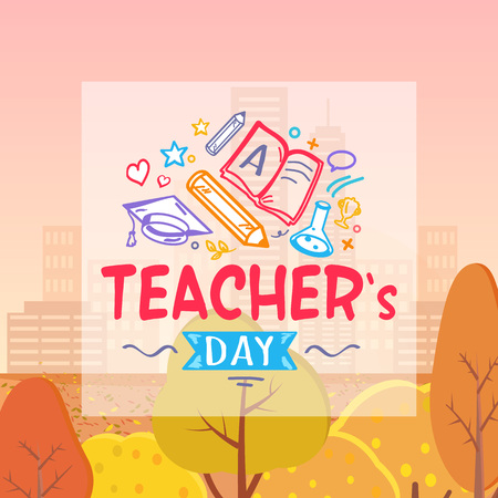 Teachers Day and Autumn on Vector Illustration
