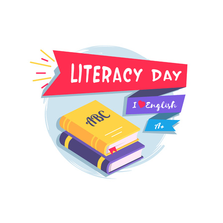 Literacy Day Colorful Vector Illustration Ilustrace