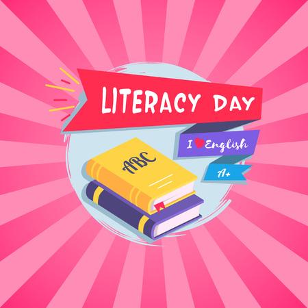 Literacy Day Bright Postcard Vector Illustration Ilustrace