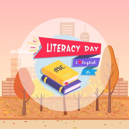 Literacy Day Postcard Autumn Vector Illustration Ilustrace