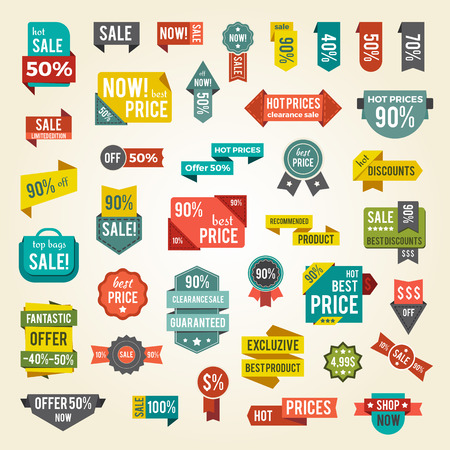 Collection of Colorful Sale Labels with Text Illustration