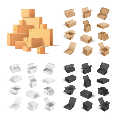 Set of Carton Boxes Isolated on White Background